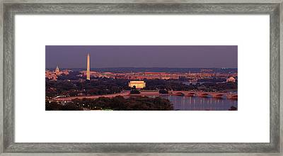 Usa, Washington Dc, Aerial, Night Framed Print by Panoramic Images