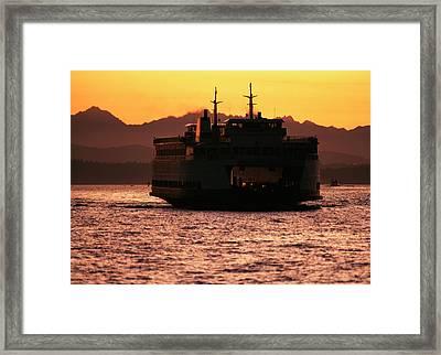 Usa, Washington, Ferry Boat At Sunset Framed Print