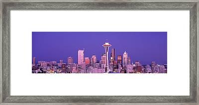 Usa, Washington, Seattle, Night Framed Print