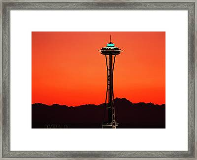 Usa, Washington, Seattle, Space Needle Framed Print