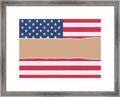 Usa Wrapping Paper Torn Through The Centre Framed Print by Steve Ball