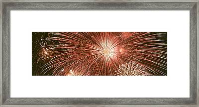 Usa, Wyoming, Jackson, Fireworks Framed Print