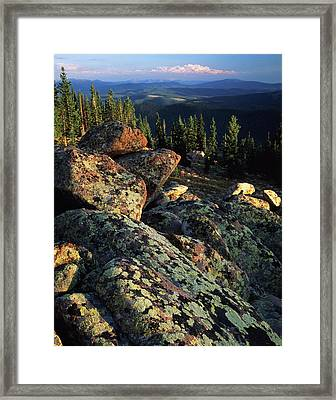 Usa, Wyoming, Lichen Covered Framed Print by Scott T. Smith