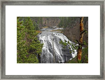 Usa, Wyoming, Waterfall, Yellowstone Framed Print