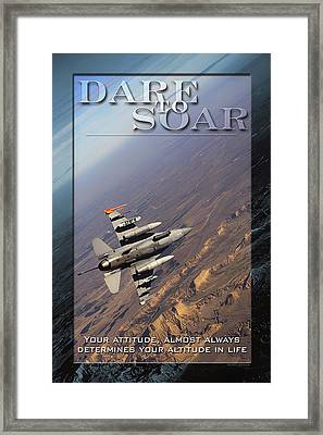Usaf Dare To Soar Affirmation Poster Framed Print by Mountain Dreams