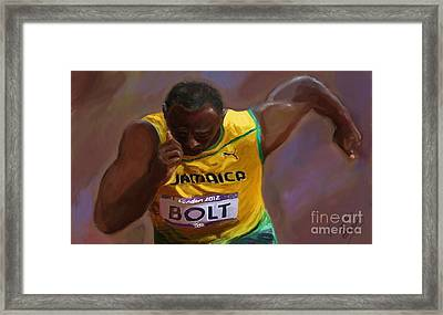 Framed Print featuring the painting Usain Bolt 2012 Olympics by Vannetta Ferguson