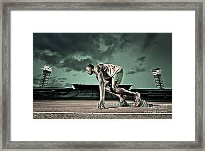 Usain Bolt Track And Field Framed Print by Lanjee Chee