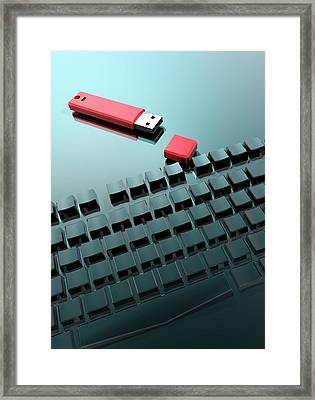 Usb And Computer Keys Framed Print by Victor Habbick Visions