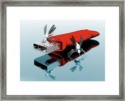 Usb Drive With Nano Bugs Framed Print by Victor Habbick Visions