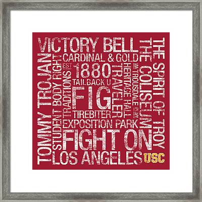 Usc College Colors Subway Art Framed Print by Replay Photos