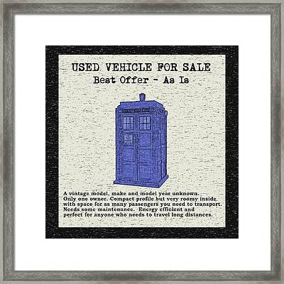 Used Time Machine Framed Print by Deborah Smith