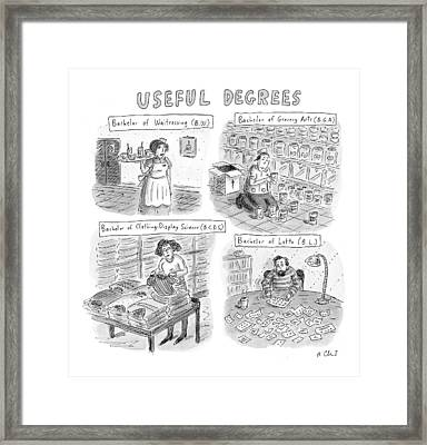 Useful Degrees: Bachelor Of Waitressing Framed Print