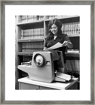 Using A Mimeograph Machine Framed Print by Underwood Archives