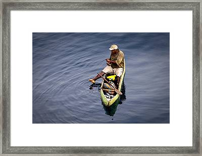 Using A Toe As A Fishing Pole. Framed Print