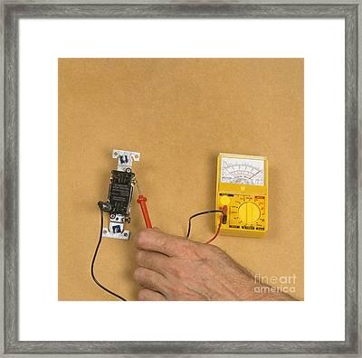 Using Electric Gauge To Test Current Framed Print
