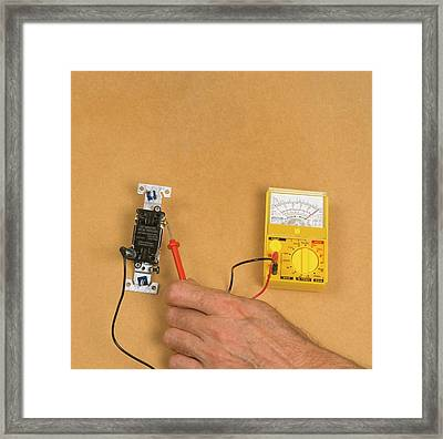 Using Electric Gauge To Test Current Framed Print