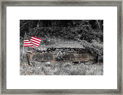 Framed Print featuring the photograph Usmc Veteran Headstone by Sherman Perry