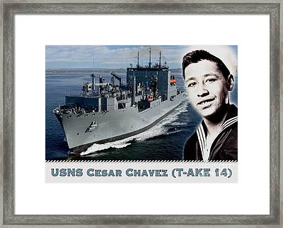 Usns Cesar Chavez - T-ake 14 Framed Print by Pg Reproductions