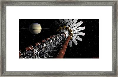 Uss Achilles Passing Saturn Framed Print