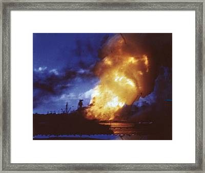 Uss Arizona Explodes At Pearl Harbor Framed Print