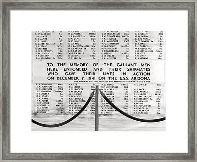 U.s.s. Arizona Pearl Harbor Memorial Framed Print