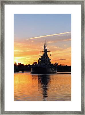 Framed Print featuring the photograph Uss Battleship by Cynthia Guinn