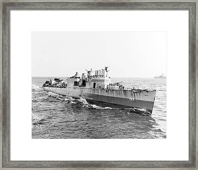 Uss Bernadou At Sea During The North Framed Print