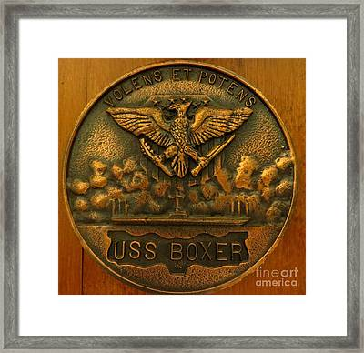Uss Boxer Plaque Framed Print by Zina Stromberg