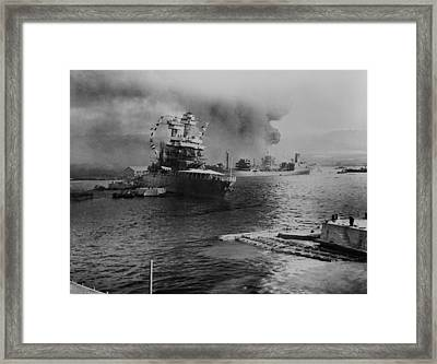 Uss California Lists After Aerial Blows Framed Print by Everett