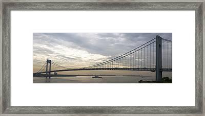 Uss Cole And The Verrazano Narrows Bridge Framed Print