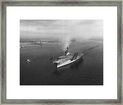 Uss Constellation Leaving New York Framed Print