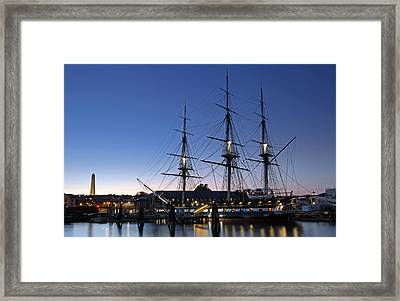 Uss Constitution And Bunker Hill Monument Framed Print by Juergen Roth