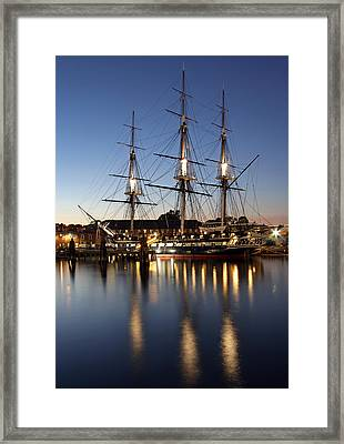Uss Constitution Framed Print by Juergen Roth