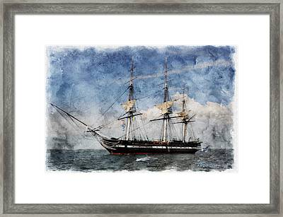 Uss Constitution On Canvas - Featured In 'manufactured Objects' Group Framed Print