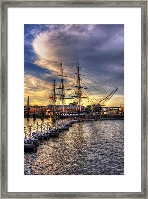 Uss Constitution Sunset - Boston Framed Print