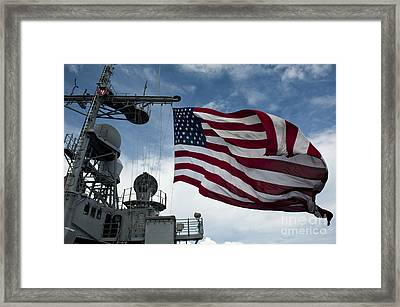 Uss Cowpens Flies A Large American Flag Framed Print by Stocktrek Images