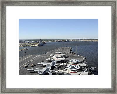 Uss Enterprise Arrives At Naval Station Framed Print by Stocktrek Images