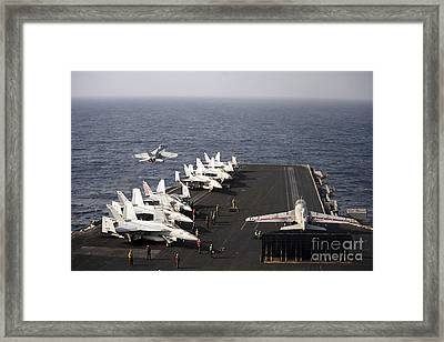 Uss Enterprise Conducts Flight Framed Print by Stocktrek Images