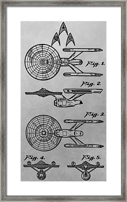Uss Enterprise Patent Illustration Framed Print by Dan Sproul