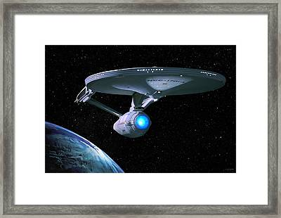 Uss Enterprise Framed Print by Paul Tagliamonte