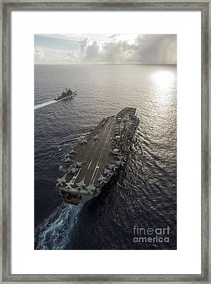 Framed Print featuring the photograph Uss George Washington And Uss Mobile by Stocktrek Images