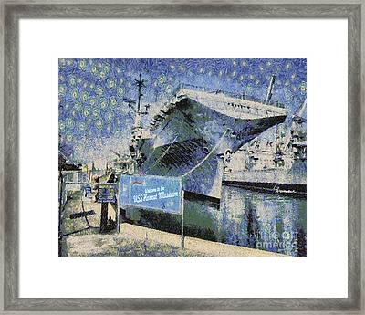 Framed Print featuring the painting Alameda Uss Hornet Aircraft Carrier by Linda Weinstock