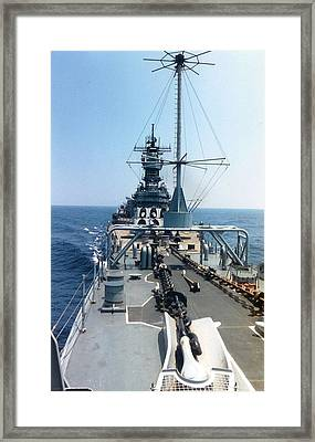 Uss Iowa At Sea Framed Print