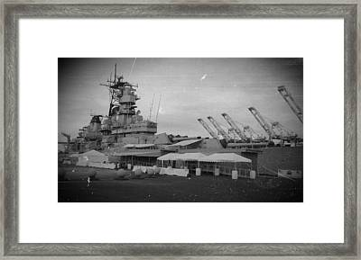 Uss Iowa Black And White Framed Print