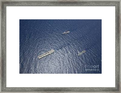 Uss Kearsarge, Uss Carter Hall And Uss Framed Print by Stocktrek Images