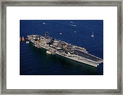 Uss Kennedy, New York Harbor, New York Framed Print