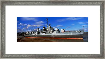 Uss Kidd Navy Ship At A Memorial, Uss Framed Print by Panoramic Images