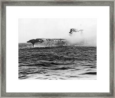Uss Lexington Abandon Ship Framed Print by Underwood Archives