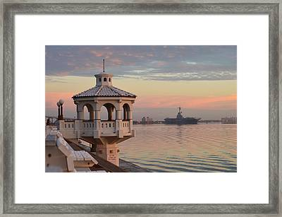 Uss Lexington At Sunrise Framed Print by Leticia Latocki