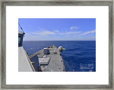Uss Michael Murphy Fires Its Mk45 Framed Print by Stocktrek Images